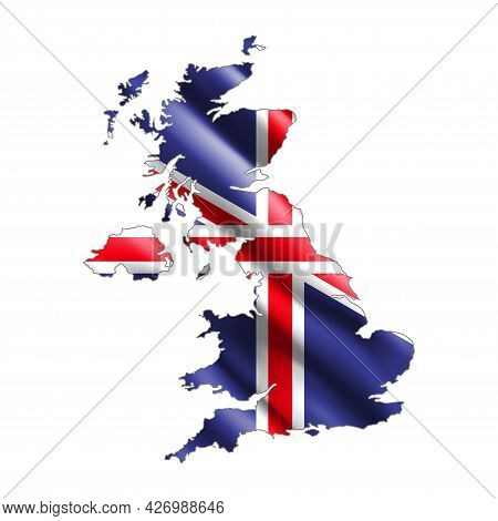 Britain Map. Stylized Country Flag. State Territory. 3d. Vector Illustration.
