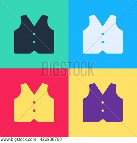 Pop Art Waistcoat Icon Isolated On Color Background. Classic Vest. Formal Wear For Men. Vector