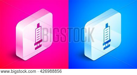 Isometric Syringe Icon Isolated On Pink And Blue Background. Syringe For Vaccine, Vaccination, Injec