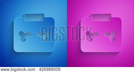 Paper Cut X-ray Shots With Broken Bone Icon Isolated On Blue And Purple Background. Paper Art Style.
