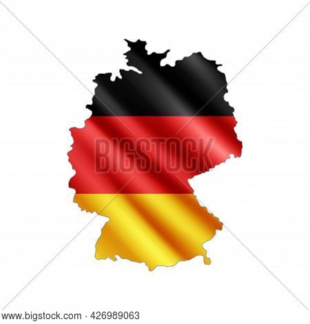 Germany Map.  Stylized Country Flag. State Territory. 3d. Vector Illustration.