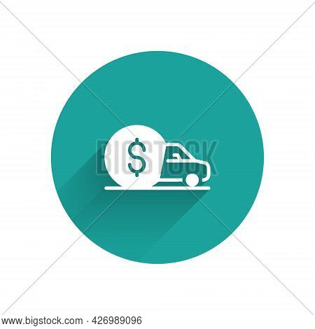 White Car Rental Icon Isolated With Long Shadow Background. Rent A Car Sign. Key With Car. Concept F