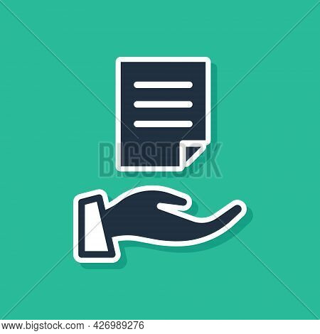 Blue House Contract Icon Isolated On Green Background. Contract Creation Service, Document Formation