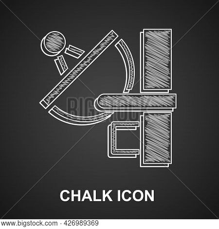 Chalk Radar Icon Isolated On Black Background. Search System. Satellite Sign. Vector