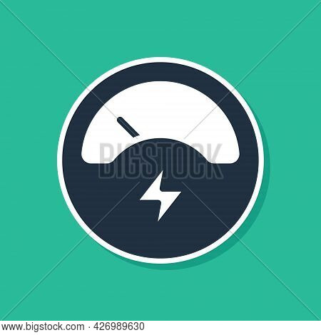 Blue Ampere Meter, Multimeter, Voltmeter Icon Isolated On Green Background. Instruments For Measurem