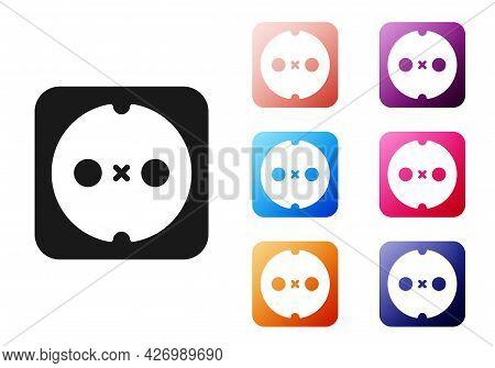 Black Electrical Outlet Icon Isolated On White Background. Power Socket. Rosette Symbol. Set Icons C