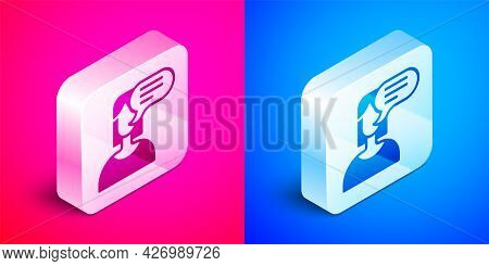Isometric Female Opinion Icon Isolated On Pink And Blue Background. Silver Square Button. Vector