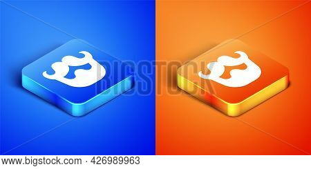Isometric Mustache And Beard Icon Isolated On Blue And Orange Background. Barbershop Symbol. Facial