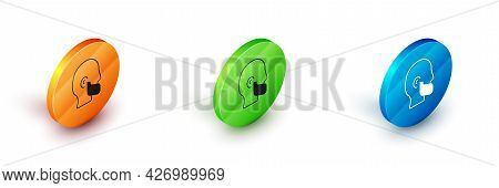 Isometric Mustache And Beard Icon Isolated On White Background. Barbershop Symbol. Facial Hair Style