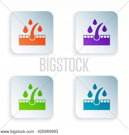 Color Organic Essential Oil For Hair Care Treatment Icon Isolated On White Background. Hair Growth O