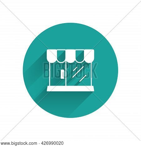 White Barbershop Building Icon Isolated With Long Shadow Background. Green Circle Button. Vector