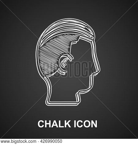 Chalk Hairstyle For Men Icon Isolated On Black Background. Vector