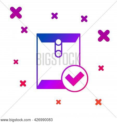 Color Envelope And Check Mark Icon Isolated On White Background. Successful E-mail Delivery, Email D