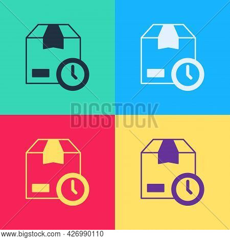 Pop Art Carton Cardboard Box And Fast Time Delivery Icon Isolated On Color Background. Box, Package,