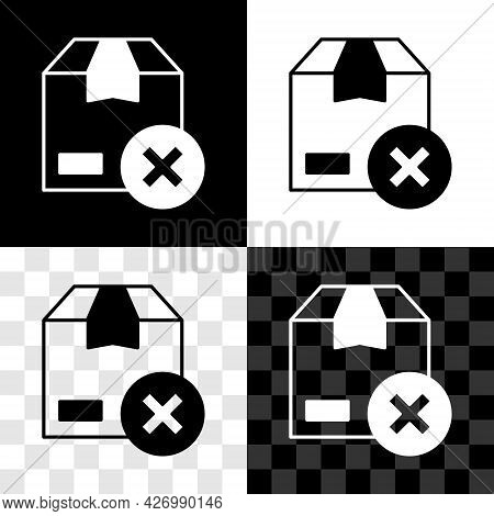Set Carton Cardboard Box And Delete Icon Isolated On Black And White, Transparent Background. Box, P