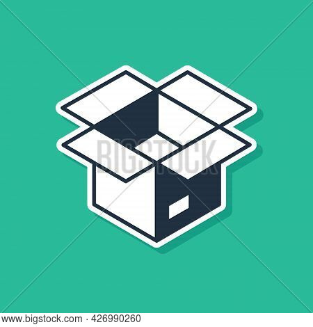 Blue Unboxing Icon Isolated On Green Background. Vector