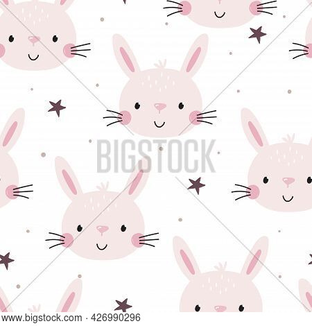Seamless Pattern Cute Character - Animal Baby Bunny. Vector Print For Baby Shower. Printable Templat