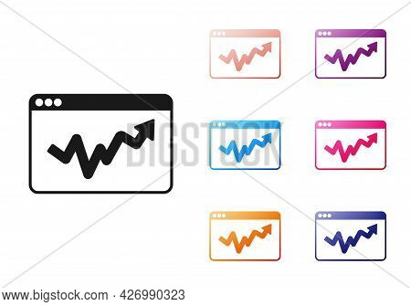 Black Graph, Schedule, Chart, Diagram, Infographic, Pie Graph Icon Isolated On White Background. Set