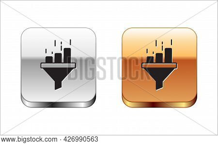 Black Sales Funnel With Chart For Marketing And Startup Business Icon Isolated On White Background.