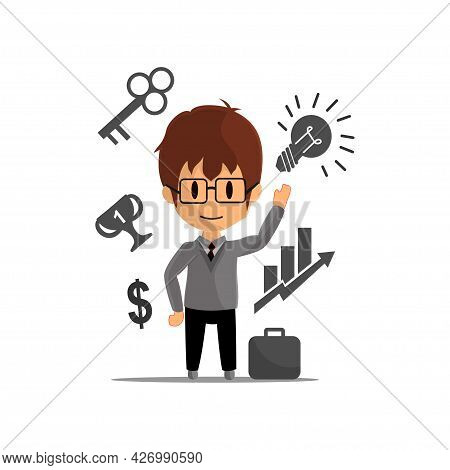 Business Success Achievement Illustration Character Design Isolated