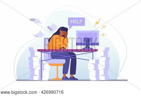 Stress At Work Concept. A Sad, Tired Girl Is Sitting At Her Desk And Asking For Help. A Large Number