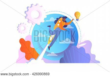 The Path To The Goal Concept. The Girl Is Flying To Her Dreams On A Rocket. Overcoming Obstacles And