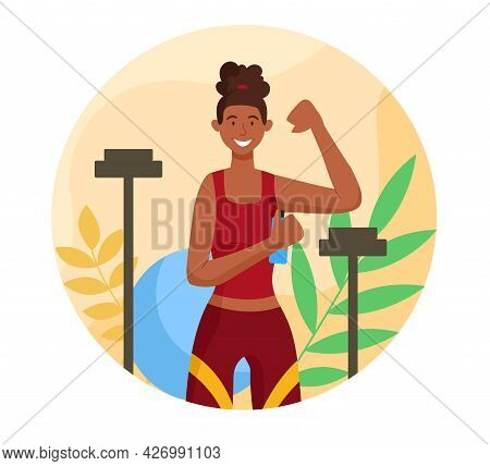 Use Deodorant Concept. A Strong Woman Applies Deodorant To Her Armpits After Exercising. Proper Care