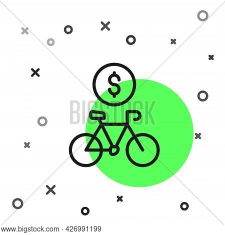 Black Line Bicycle Rental Mobile App Icon Isolated On White Background. Smart Service For Rent Bicyc