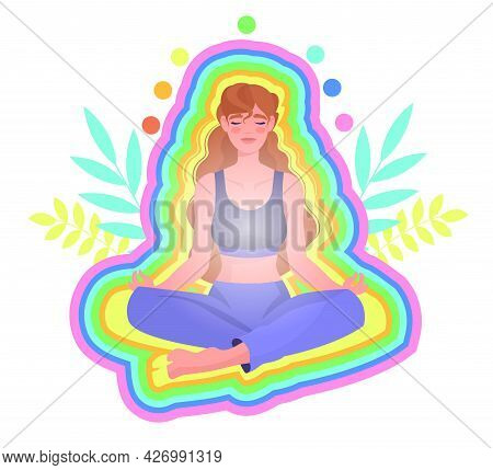 Yoga Practice Concept. The Girl Sits In The Lotus Position Surrounded By A Rainbow Aura And Relaxes.
