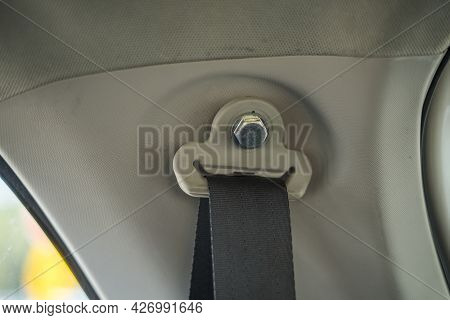 Close Up Of Modern Car Interior - Rear Seats With The Seat Belts
