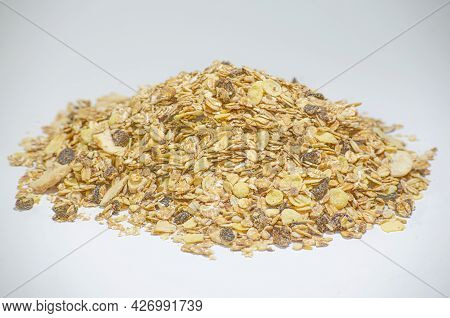 Mixed Grains And Cereals On White Background. Dried Legumes And Fruit. Healthy Food.