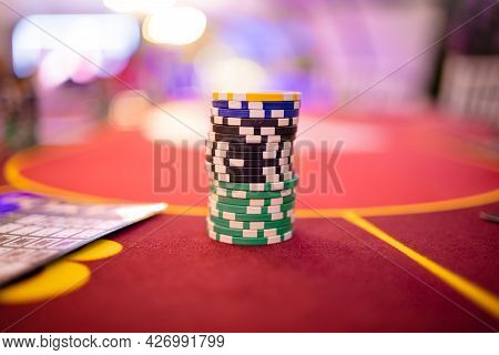 Image Of Poker Chips Over Casino Table