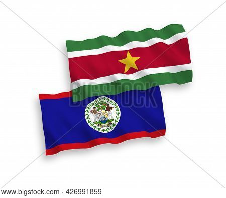 National Fabric Wave Flags Of Republic Of Suriname And Belize Isolated On White Background. 1 To 2 P