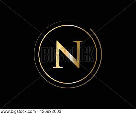 Initial Gold Letter N Logo Design. N Logo Design With Luxury Concept