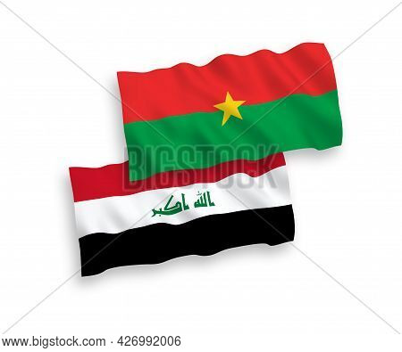 National Fabric Wave Flags Of Burkina Faso And Iraq Isolated On White Background. 1 To 2 Proportion.