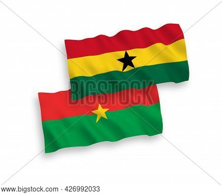National Fabric Wave Flags Of Burkina Faso And Ghana Isolated On White Background. 1 To 2 Proportion