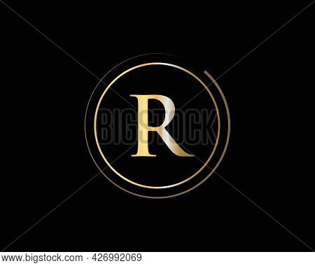 Initial Gold R Letter Logo Design. R Logo Design With Creative And Luxury Concept