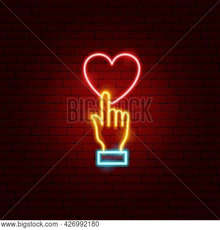 Hand Love Donate Neon Sign. Vector Illustration Of Donation Promotion.