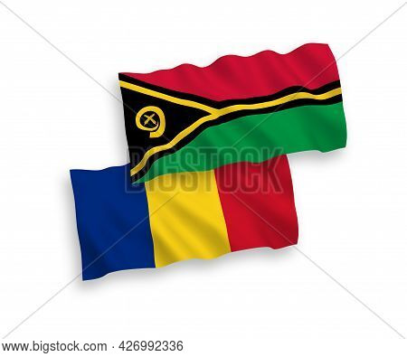 National Fabric Wave Flags Of Romania And Republic Of Vanuatu Isolated On White Background. 1 To 2 P