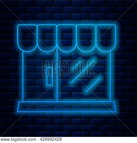 Glowing Neon Line Barbershop Building Icon Isolated On Brick Wall Background. Vector