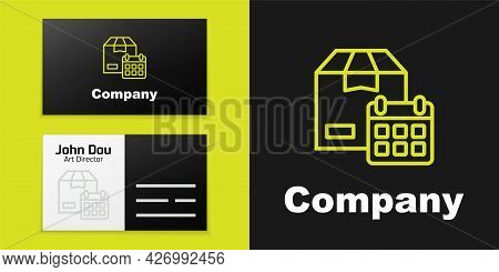 Logotype Line Carton Cardboard Box And Fast Time Delivery Icon Isolated On Black Background. Box, Pa