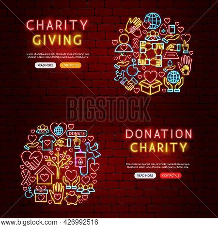 Donation Charity Neon Banners. Vector Illustration Of Donate Promotion.