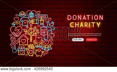 Donation Charity Neon Banner Design. Vector Illustration Of Donate Promotion.
