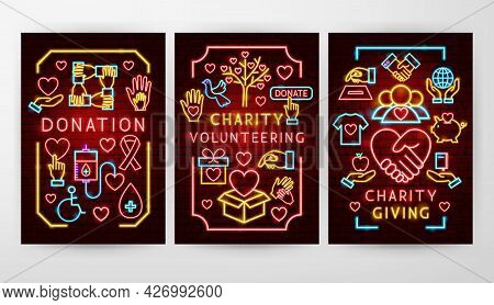Donation Charity Flyer Concepts. Vector Illustration Of Donate Promotion.