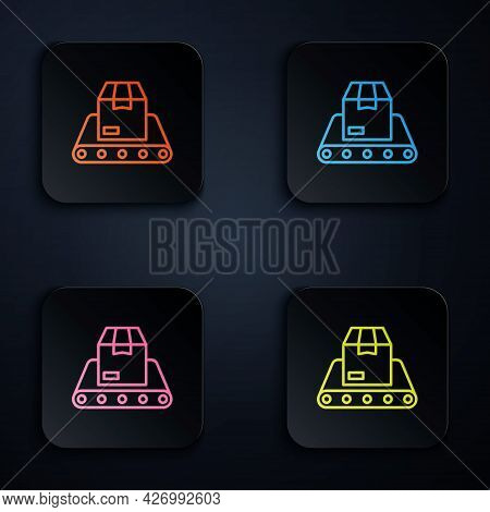Color Neon Line Conveyor Belt With Cardboard Box Icon Isolated On Black Background. Set Icons In Squ