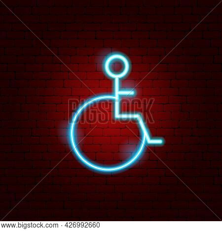 Disabled Neon Sign. Vector Illustration Of Disability Promotion.