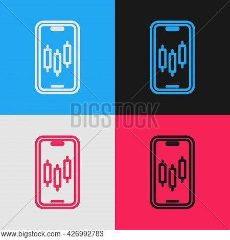 Pop Art Line Mobile Stock Trading Concept Icon Isolated On Color Background. Online Trading, Stock M