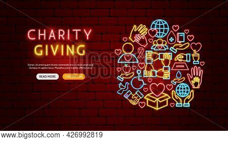 Charity Giving Neon Banner Design. Vector Illustration Of Donation Promotion.