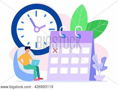 Vector Illustration. Character Entrepreneurs Create Their Work Schedules. Develop Plans And Targets.