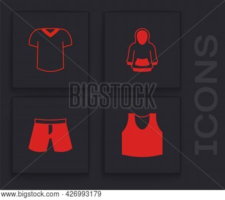 Set Undershirt, T-shirt, Hoodie And Short Or Pants Icon. Vector